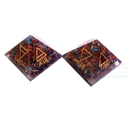 4 Element Chakra Orgone Pyramid with Four Direction
