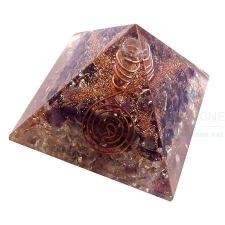 Amethyst-Crystal Orgone Energy Pyramid With Crystal Point