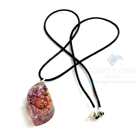 Amethyst Orgone Eye Pendant With Cord