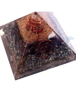 Amethyst Orgone Layer Aluminium Pyramid With Point