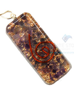 Amethyst Orgone Long Rectangle Pendant