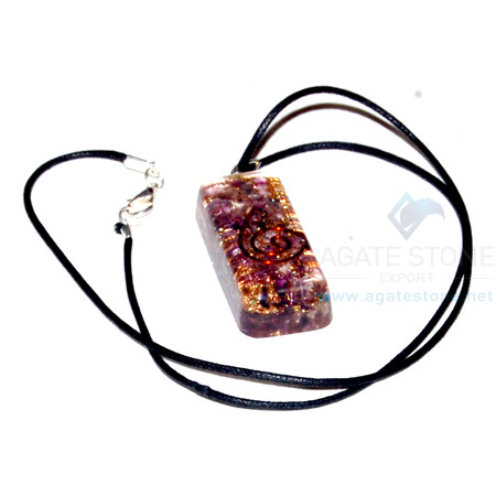 Amethyst Orgone Long Rectangle Pendant With Cord