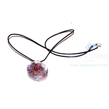 Amethyst Orgone Oval Pendant With Cord