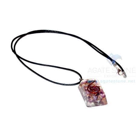 Amethyst Orgone Rectangle Pendant With Cord