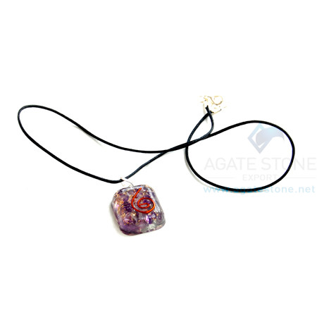 Amethyst Orgone Square Pendant With Cord