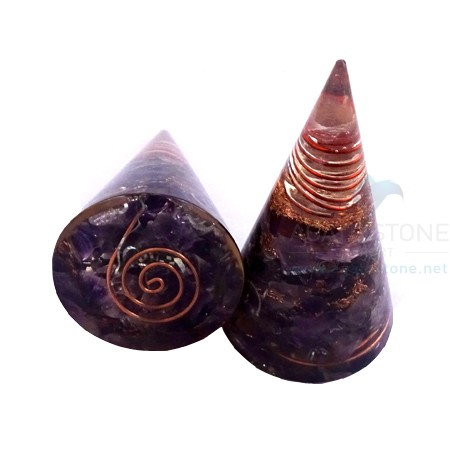 Amethyst Orgonite Cone With Crystal Point