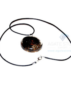 Black Tourmaline Orgone Disc Pendant With Cord
