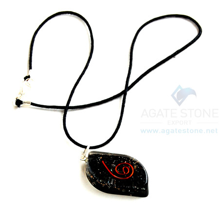 Black Tourmaline Orgone Eye Pendant With Cord