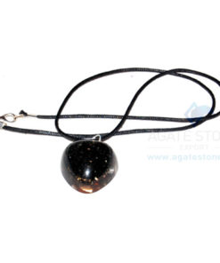 Black Tourmaline Orgone Heart Pendant With Cord