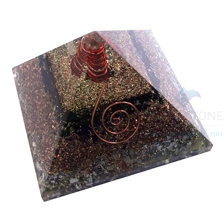 Black Tourmaline Orgone Layer Copper Pyramid With Point