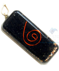 Black Tourmaline Orgone Long Rectangle Healing Pendant
