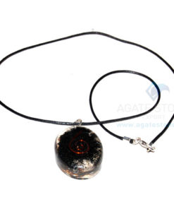 Black Tourmaline Orgone Oval Pendant With Cord