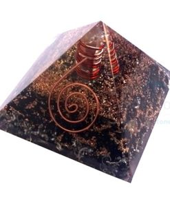Black Tourmaline Orgone Pyramid With Crystal Point