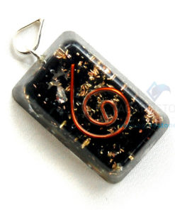 Black Tourmaline Orgone Rectangle Pendant