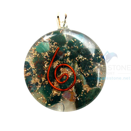 Blood Stone Orgone Disc Pendant