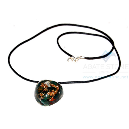 Blood Stone Orgone Heart Pendant With Cord