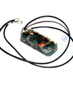 Blood Stone Orgone Long Rectangle Pendant With Cord