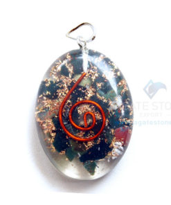 Blood Stone Orgone Oval Pendant