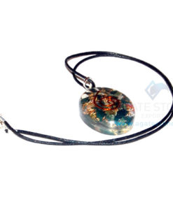 Blood Stone Orgone Oval Pendant With Cord