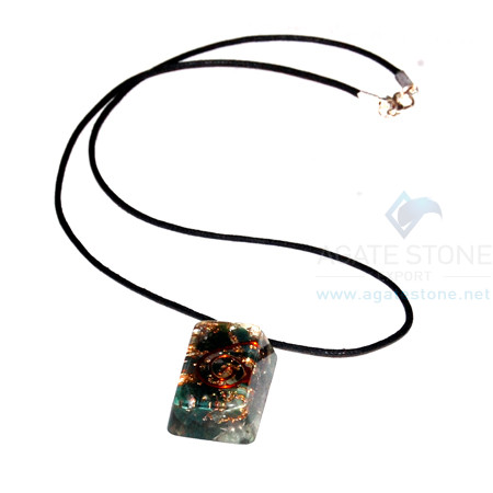 Blood Stone Orgone Rectangle Pendant With Cord