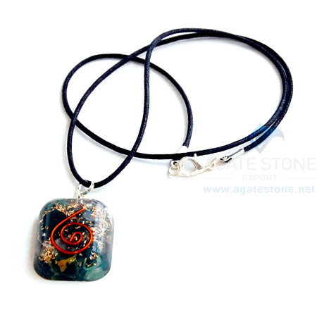 Blood Stone Orgone Square Pendant With Cord