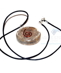 Blue Aventurine Orgone Disc Pendant With Cord
