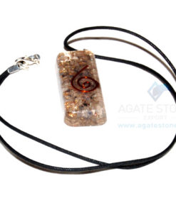 Blue Aventurine Orgone Long Rectangle Pendant With Cord