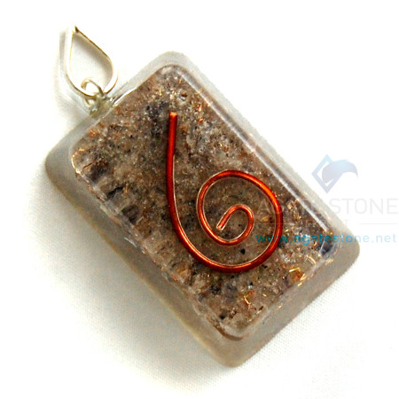 Blue Aventurine Orgone Rectangle Pendant