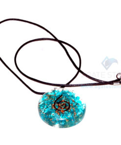Blue Onyx Orgone Disc Pendant With Cord