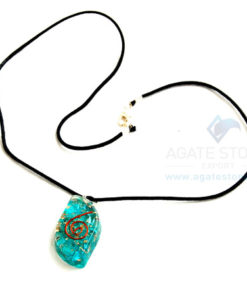 Blue Onyx Orgone Eye Pendant With Cord