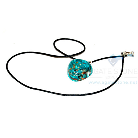Blue Onyx Orgone Heart Pendant With Cord
