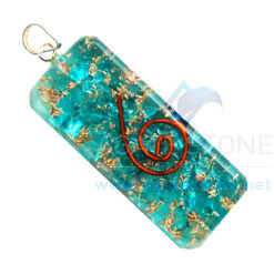 Blue Onyx Orgone Long Rectangle Pendant