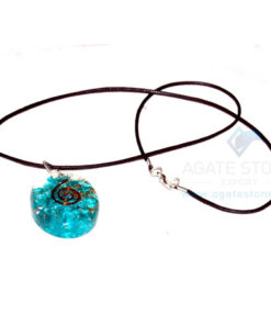 Blue Onyx Orgone Oval Pendant With Cord