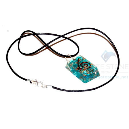 Blue Onyx Orgone Rectangle Pendant With Cord
