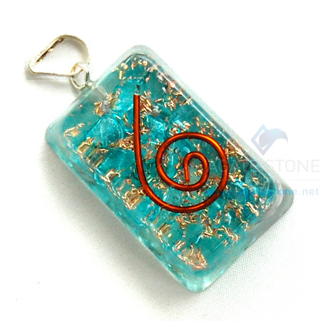Blue Onyx Orgone Rectangle Pendant