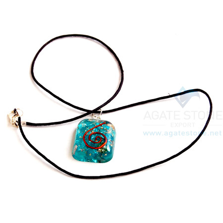 Blue Onyx Orgone Square Pendant With Cord