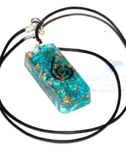 Blue Orgone Onyx Long Rectangle Pendant With Cord