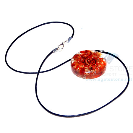 Carnelian Orgone Disc Pendant With Cord