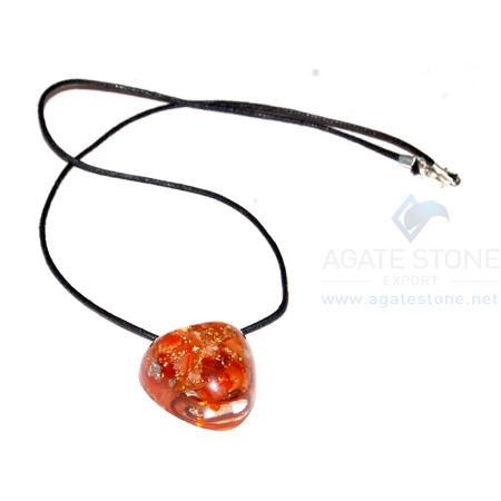 Carnelian Orgone Heart Pendant With Cord