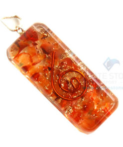 Carnelian Orgone Long Rectangle Pendant