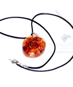 Carnelian Orgone Oval Pendant With Cord