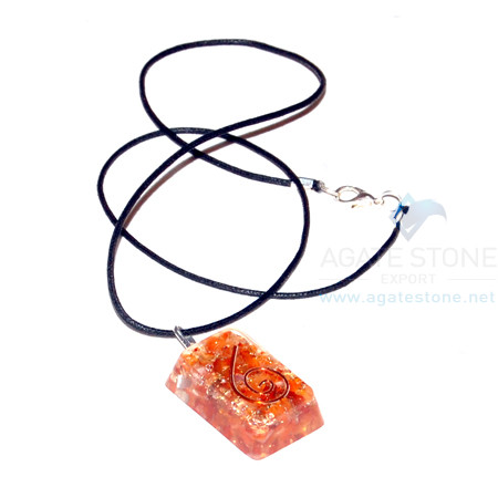 Carnelian Orgone Rectangle Pendant With Cord