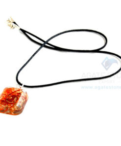 Carnelian Orgone Square Pendant With Cord
