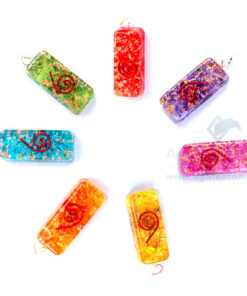 Chakra Orgone Onyx Long Rectangle Pendant Set