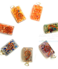 Chakra Orgone Rectangle Pendant Set