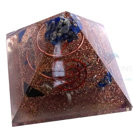 Copper Three Layer Orgone Pyramid With Crystals