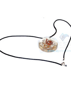 Crystal Orgone Disc Pendant With Cord
