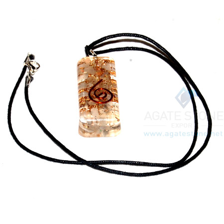 Crystal Orgone Long Rectangle Pendant With Cord
