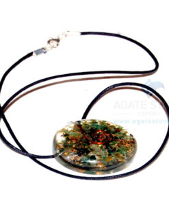 Green Jade Orgone Disc Pendant With Cord