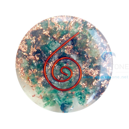 Green Jade Orgone Energy Disc Cabochon